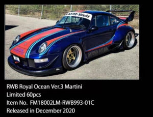 Preorder ~ FuelMe 1:18 Resin Model RWB 993 Royal Ocean Ver. 3 Martini ETA : Jan 2022 ( Free Shipping Worldwide )