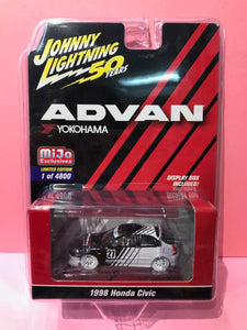 Johnny Lightning 1/64 Advan Yokohama Mijo Exclusive 1998 Honda Civic White Lightning Chase