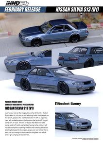 Preorder - INNO64 1/64 NISSAN SILVIA S13 PANEM ROCKET BUNNY V1 Two-Tones Blue/Grey Metallic- Release Date : TBA
