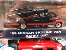 Load image into Gallery viewer, Part 1 Hot Wheels 1/64 Real Rider Car Culture Team Transporter 69 Nissan skyline van advan AT SHOP