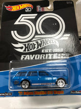 Load image into Gallery viewer, Hot Wheels 71 Datsun Bluebird 510 Wagon 50th Anniversary Realriders  (Est 1968 FAVORITES) AT SHOP