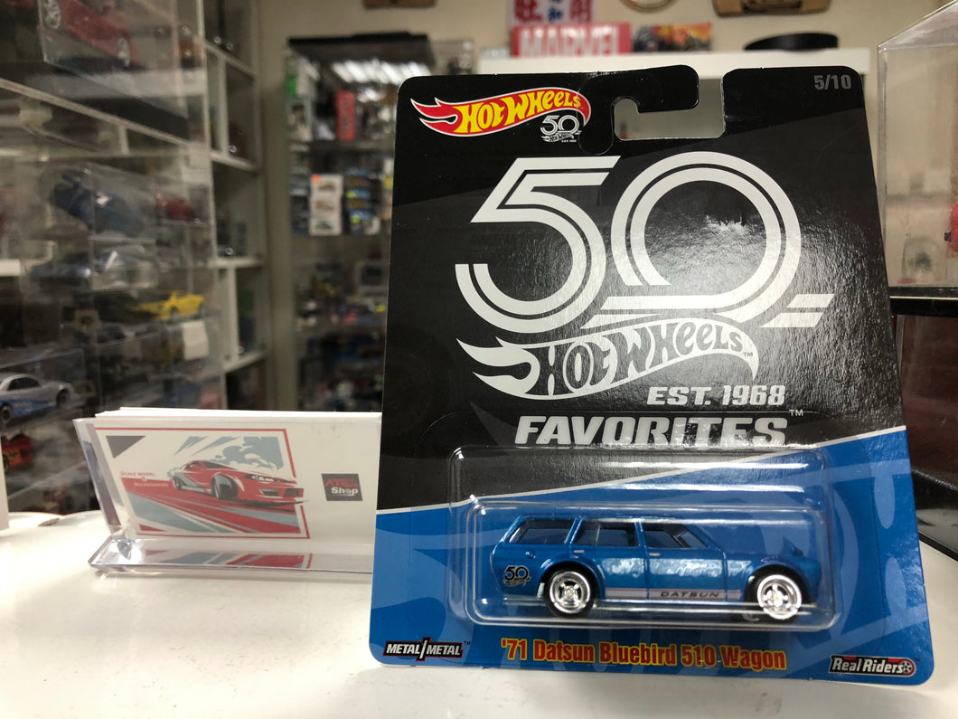Hot Wheels 71 Datsun Bluebird 510 Wagon 50th Anniversary Realriders  (Est 1968 FAVORITES) AT SHOP