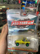 Load image into Gallery viewer, Greenlight 1/64 1990 Jeep Wrangler YT Islander Green Machine Chase #S99
