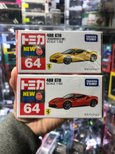Load image into Gallery viewer, Takara Tomy Tomica FERRARI 488 GTB NEW 2019 No.64 (set of Two) Red and Yellow
