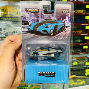 Tarmac Works 1/64 Koenigsegg Agera RS Cyan Black Yellow Chase Car Global64 Diecast Scale Model Car #TNF