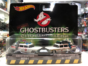 GHOSTBUSTERS ECTO 1 & ECTO 1A SET OF 2 DIECAST MODEL CARS BY HOTWHEELS DVG08 AT