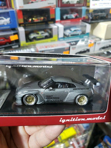 Tarmac ignition model 1:64 Pandem TRA Racing IG1598 Nissan GT-R Titaninum Gray Tokyo Auto Salon ( Free Shipping Worldwide !!! )
