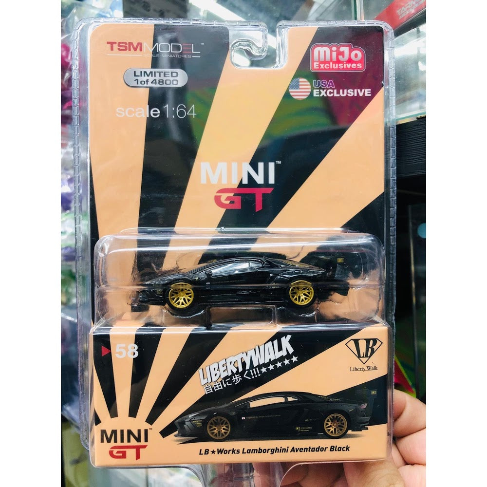 MiniGT MINI GT 1/64 LB WORKS Lamborghini Aventador Black USA EXCLUSIVE ~ 1/64