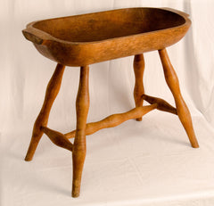 Oblong Wooden Bowl on Legs