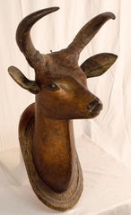 Carved and Painted Deer Head with Real Horns