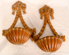 A Pair of 19th Century Carved Pine Wall Pockets