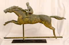 Copper Full-Figure Horse and Jockey Weathervane