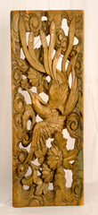 Carved Wooden Panel with a Bird and Floral Motif