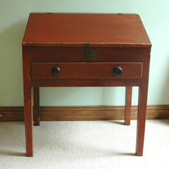 Antique 19th Century Red Painted Slant Front Country Desk with one Drawer and Internal Drawers and Cubby Holes