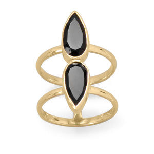 14 Karat Gold Plated Double Pear Onyx Ring  Item
