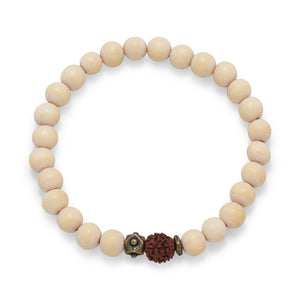 Men's White Wood Bead Stretch Fashion Bracelet