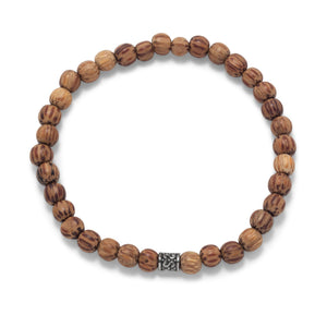 Men's Palmwood Bead Fashion Stretch Bracelet
