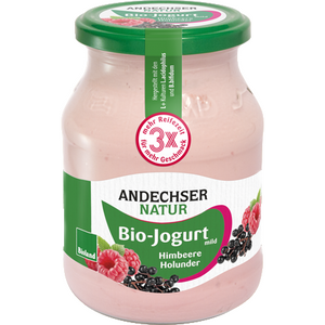mild fruit yogurt with raspberry and elder