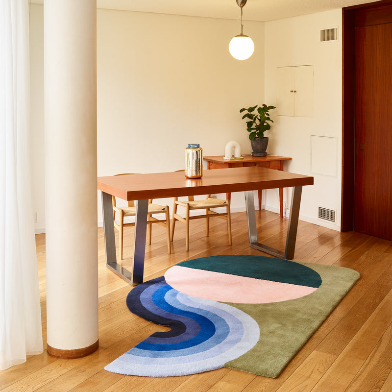 Wavy Gradient Rug - Deep Green x Dusty Pink