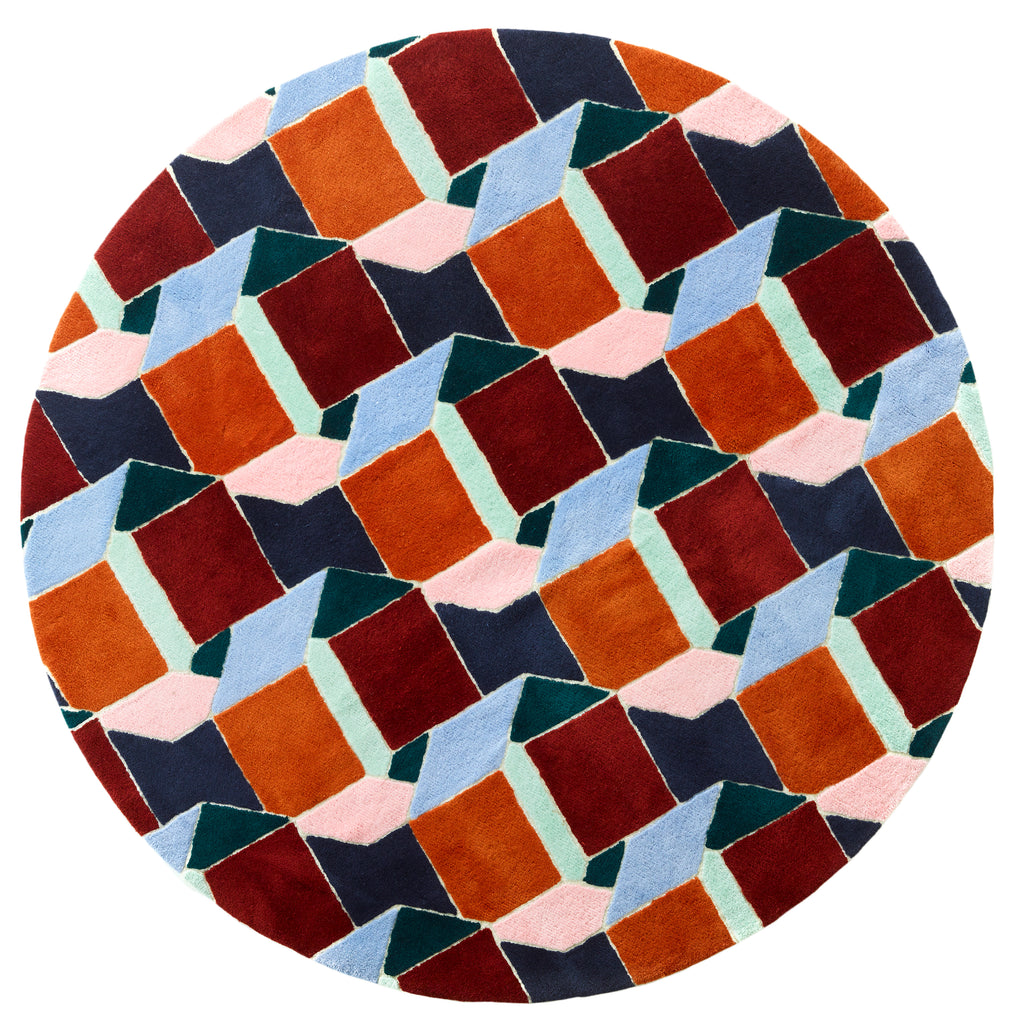 Big Circle Rug - Pattern of dimensional box #01