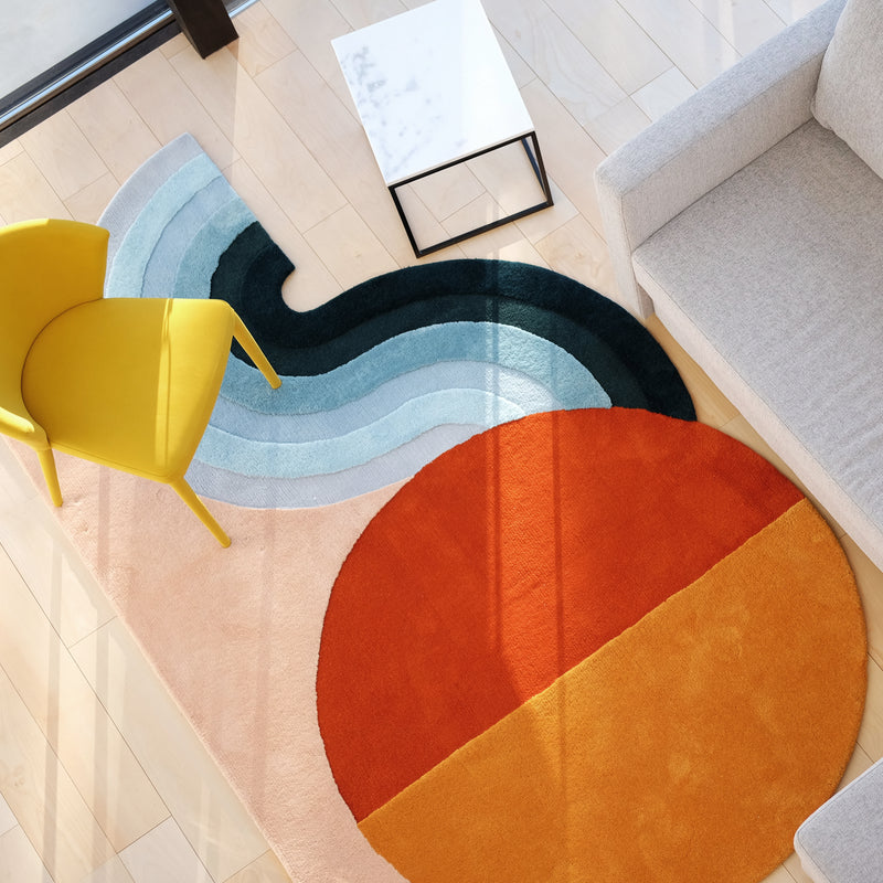 Wavy Gradient Rug - Orange x Yellow