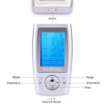 NURSAL Rechargeable TENS Units Muscle Stimulator, Pain Relief Machine with 8 Pads for Pain Management and Rehabilitation