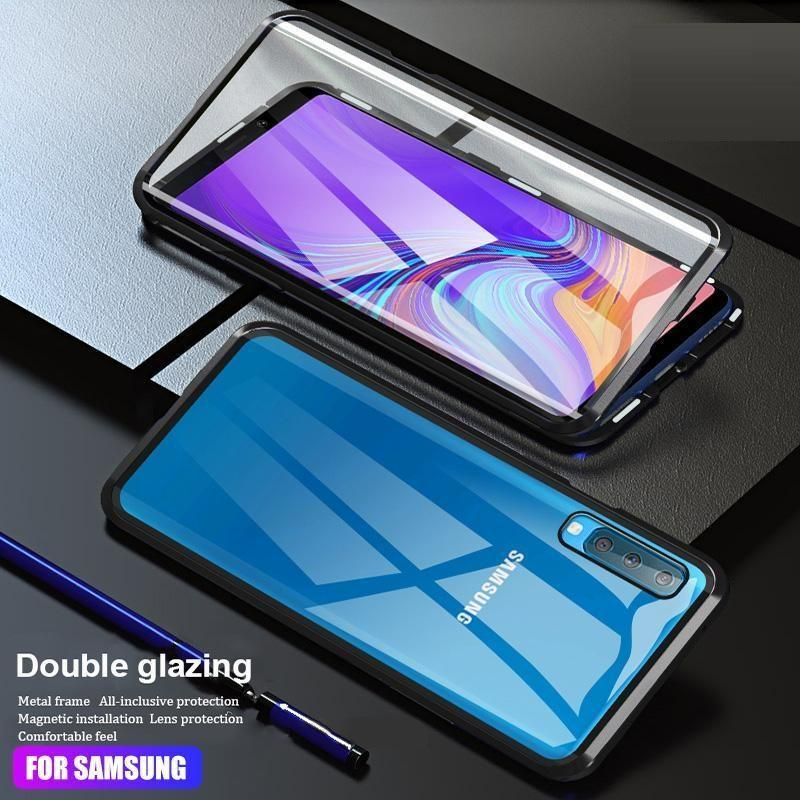 Luxury Full Body Protective Magnetic Case Two Side Glass Cover For Samsung A5(2017)/A7(2017)/A8(2018)/A8+/A9/A10/A50