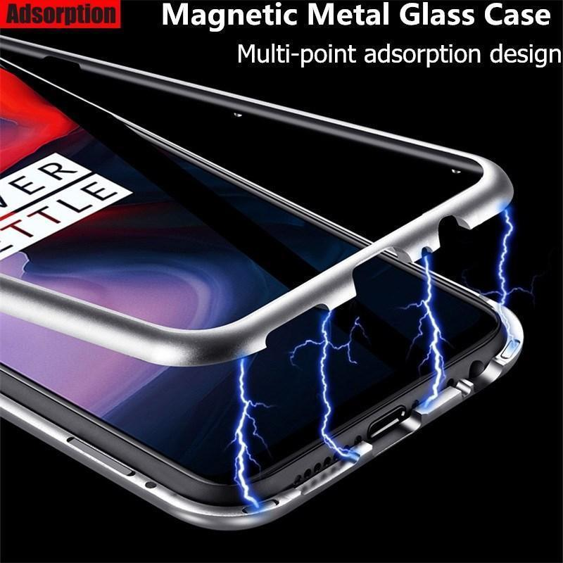 Tempered Glass Magnetic Adsorption Phone Case for Oneplus 6/6T/5T