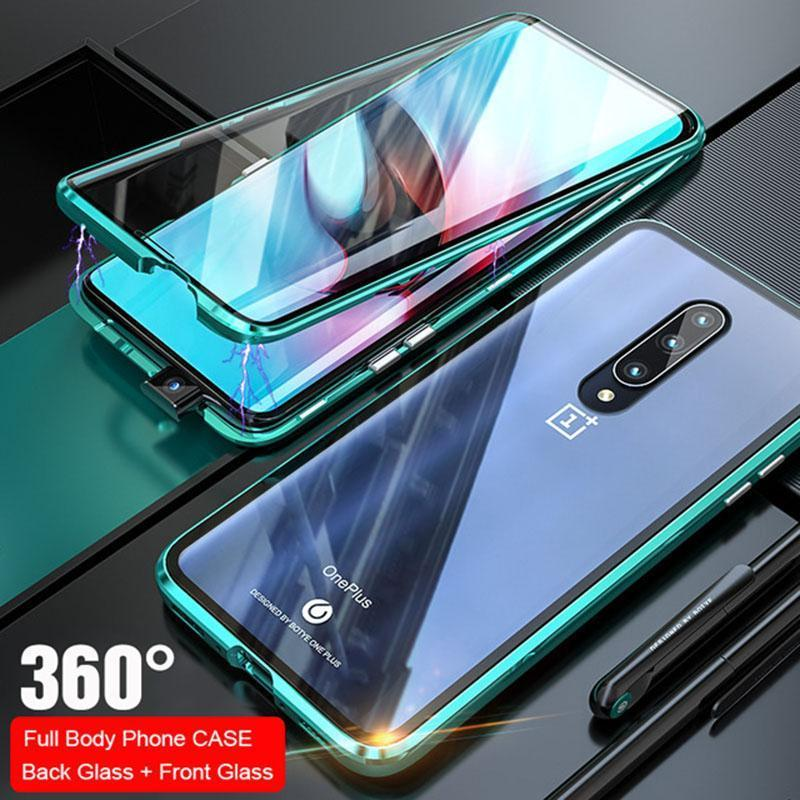 360° Full Curved Coverage Two Side Glass Magnetic Phone Case for Oneplus 7 7Pro 6 6T