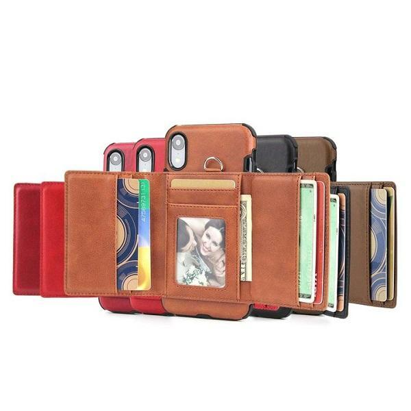 Multifunction Card Holder Phone Case for iPhone 6 6s 7 8 Plus X XS XR XS MAX
