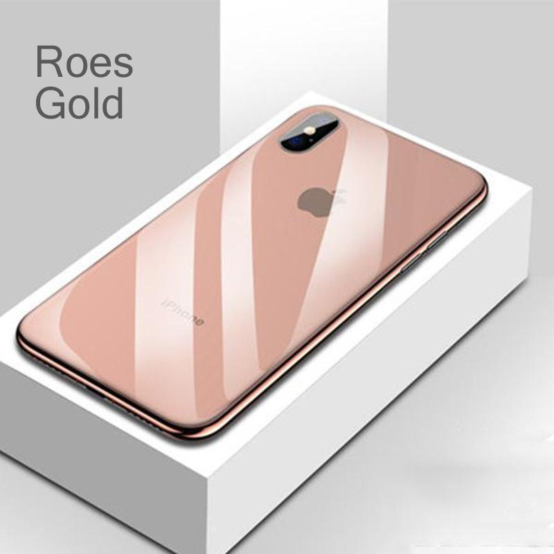 Luxury  Shockproof Tempered Glass Back Electroplate Frame Cover Soft TPU Edge Case for iPhone X XS Max XR 7Plus 8Plus 7 8 6sPlus 6s