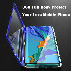 2019 New Upgraded Two Side Tempered Glass Magnetic Adsorption Phone Case for Huawei P30 P30Pro P30Lite