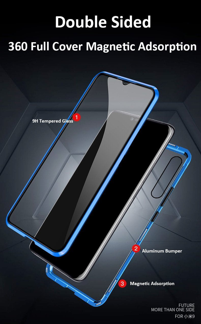 Upgraded Two Side Tempered Glass Magnetic Adsorption Phone Case for Xiaomi Redmi Note 7 Pro,Note 7