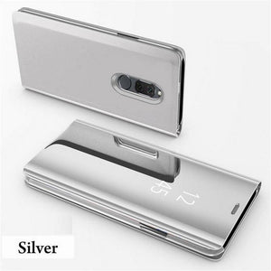 Smart Mirror Flip Phone Case Clear View Window Hard PC Stand Cover for OnePlus 6T 6 5T
