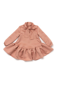 Omamimini Ruffled Dress with a Front Bow 3T and 4