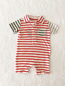 Me + Henry Red Multi Stripe Polo Romper 0-3m