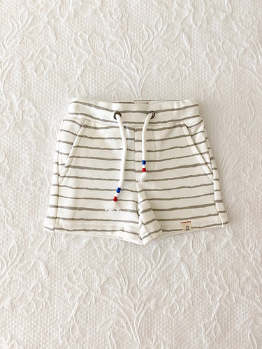 Me + Henry Grey Handpainted Stripe Shorts 0-3m