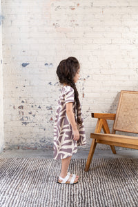 Omamimini Printed Jersey Tent Dress with Ruffle