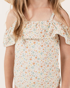 Rylee + Cru flower field off the shoulder one piece 2-3y
