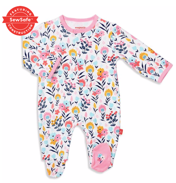Magnetic Me Sussex Floral Organic cotton Footie 12-18 months
