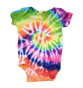Casey Altman Design rainbow tie dye short sleeve onesie