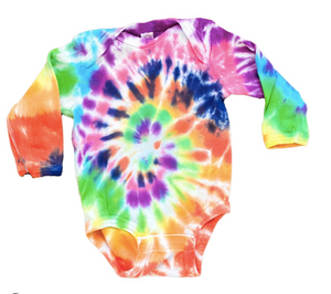 Casey Altman Design rainbow tie dye long sleeve onesie