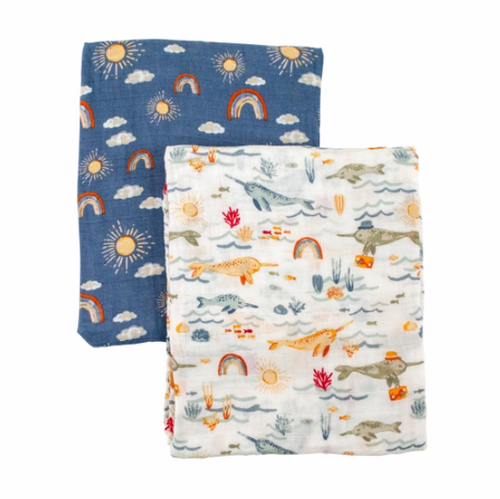 Narwhal and Hello Sunshine Classic Muslin Swaddle Blanket Set