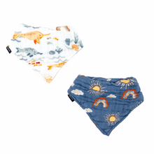 Load image into Gallery viewer, Narwhal and Hello Sunshine Classic Muslin Bandana Bib Set