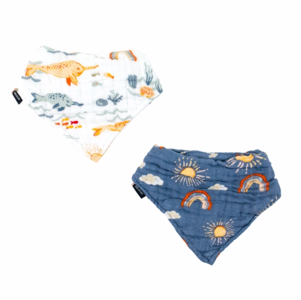 Narwhal and Hello Sunshine Classic Muslin Bandana Bib Set