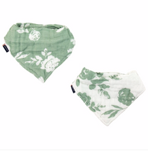 Load image into Gallery viewer, Vintage Floral/Modern Floral Classic Muslin Bandana Bib Set