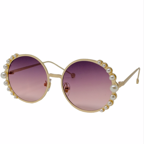 Round Sunglasses with Pearls