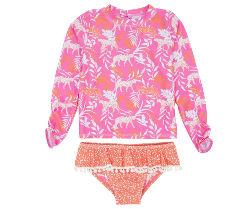 Sandy Toes 2 Piece Ruffle Swim Set LS