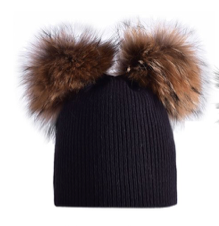Adult Double Raccoon Fur Pom Pom Hat
