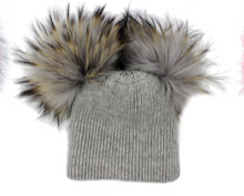 Load image into Gallery viewer, Adult Double Raccoon Fur Pom Pom Hat